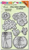 Stampendous Fran's Cling Stamp and Stencil Set, 18cm x 13cm Sheet, Build A Bouquet Set