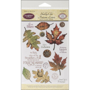 JustRite Stampers Clear Stamp Set, Shabby Chic Autumn Leaves 15pc