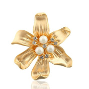 Cdet Brooch Flower Fashion Elegant Brooch Pin Alloy Shawl Clip For Wedding Lover Christmas Gift Gold Colour