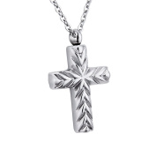 Cross Memorial Urn Pendant Necklace 316 Stainless Steel Detachable Cremation Jewellery 60cm Chain