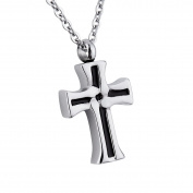 Cross Memorial Urn Pendant Necklace Stainless Steel Detachable Cremation Jewellery 60cm Chain