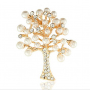 Cdet Brooch Women Christmas Wishing Tree Wedding Bridal Pin Dress Scarves Shawl Clip Ladies Jewellery Love Gift Golden