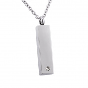 Cuboid Memorial Urn Pendant Necklace Stainless Steel Ashes Keepsake Cremation Jewellery Inlaid Zircon 60cm Chain