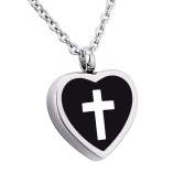 Heart Cross Memorial Urn Pendant Necklace Stainless Steel Detachable Ashes Keepsake Cremation Jewellery Black