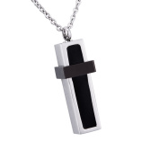Cuboid Black Cross Memorial Urn Pendant Necklace Stainless Steel Ashes Keepsake Cremation Jewellery