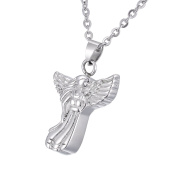 Angel Virgin Mary Memorial Urn Pendant Necklace Stainless Steel Detachable Cremation Jewellery 60cm Chain