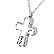 Feet Cross Memorial Urn Pendant Necklace Stainless Steel Detachable Cremation Jewellery 60cm Chain