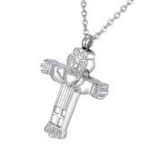 Crada Heart Cross Memorial Urn Pendant Necklace Stainless Steel Detachable Cremation Jewellery 60cm Chain