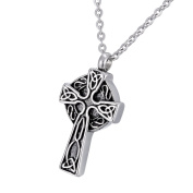 Celtic Knot Cross Memorial Urn Pendant Necklace Stainless Steel Detachable Cremation Jewellery 60cm Chain