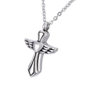 Angel Wings Cross Memorial Urn Pendant Necklace Stainless Steel Detachable Cremation Jewellery 60cm Chain