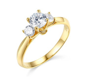 14K Solid Yellow Gold Polished 1.00 cttw Cubic Zirconia with Side Stones Wedding Engagement Ring , Size 6.5