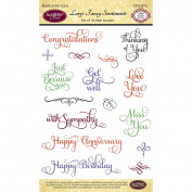 JustRite Papercraft Clear Stamp Set 10cm x 15cm -Large Fancy Sentiments 18pcs