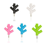 VingDy New Lovely 3.5mm Earphone Headphone Audio Splitter 1 Male to 2 3 4 Female Y Port Cables Music Lovers Sharing Headphone Adapter Up to 4 People to Share