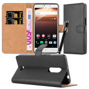 Alcatel A3 XL Case - Luxury PU Leather Wallet Cover Magnetic Closure Flip Stand View Protective Card Holder Case Cover For Alcatel OneTouch A3 XL (9008X / 9008D) Cover With Touch Stylus Pen