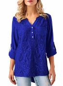 FIYOTE Womens Casual V Neck Loose Cuffed 3 4 Sleeve Floral Lace Blouses Tops