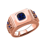 2.56 Ct Cushion Blue Simulated Sapphire 18K Rose Gold Plated Silver Men's Ring