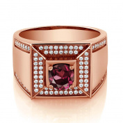 2.10 Ct Round Red Rhodolite Garnet 18K Rose Gold Plated Silver Men's Ring