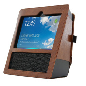 MOSISO Protective Case for Echo Show - Premium PU Leather Protector Cover for Amazon Echo Show, Deep Brown