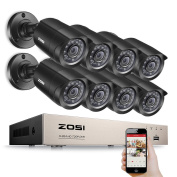ZOSI 720P Security Camera Systems 8CH 720P CCTV Recorder and 8X 1280TVL IP66 Weatherproof Security Cameras 20m Night vision Intelligent Motion Detection Alarm System