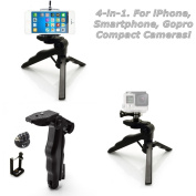 micros2u 4 in 1 Lightweight Mini Hand Held Stabiliser Pistol Grip Table Top Stand Tripod for iPhone, Mobile Phone, Gopro, DSLR, Camcorder, Video Camera & Digital Camera