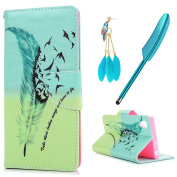 Xperia XA1 Case MAXFE.CO Sony Xperia XA1 PU Leather Case Shockproof Folio Flip Wallet Magnetic Stand Cover with Card Slots for Sony XA1 & One Touch Pen & One Dust Plug, Feather Wings to Fly