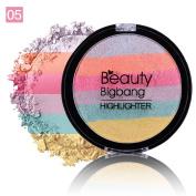 ChenRui(TM)BEAUTYBIGBANG Rainbow Highlighter Eyeshadow Face Makeup Palette Bronzer Contour Soft Mineral, 6 Colours 5 Types