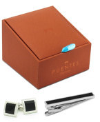 Black Tie Event Tie Clip and Cufflinks Set in Deluxe Gift Box by Puentes Denver