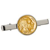 Smithsonian Institution Gold-Layered Buffalo Nickel Silvertone Tie Clip