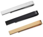 3 Pc Mens Tie Bar Slide Clip Set Skinny Ties 3.8cm , Brushed Silver, Black, Gold in Gift Box