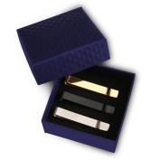 UHIBROS Mens Tie Clip Tie Bar Set for Regular Ties Silver, Black, Gold Tone Luxury Gift Box