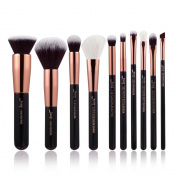 Jessup 10pcs Foundation Power Beauty makeup brushes Eyeliner Concealer Buffer Handmade Fibre Hair Makeup Tool Kit Black/Rose Gold T156