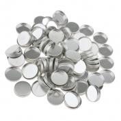 perfk 100pcs Metal Empty Round Square Eyeshadow Blush Makeup Pans Tin Powder Pot For Magnetic Palette Box Responsive to Magnets - Silver, Round