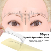 Anself 50pcs Eyebrow Ruler Sticker Disposable Adhesive Microblading Guide Brow Measure Sticker For Permanent Makeup