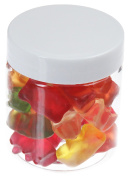 Pet Jar 75 ml Transparent with Plastic Lid 40 Pieces, White
