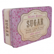 Retro Sugar Tin Purple Tin with Hinged Lid