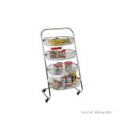 Mind Reader 4 Tier Rolling Basket Rack, Silver