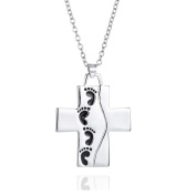Emma Manor 14k White Gold Plated Foot Print Cross Engraved Pendant Necklace For Women