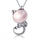 Emma Manor White Gold Plated Lucky Cat Synthetic Stone Pendant Necklace