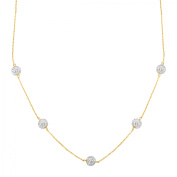 Station Necklace with Crystal in 10kt Gold