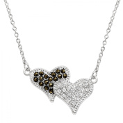 Luminesse Double Heart Necklace with Marcasite & Crystals in Sterling Silver