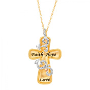 Luminesse Engraved Concave Cross Pendant Necklace with Crystals in 18kt Gold-Plated Sterling Silver