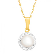 Freshwater Pearl Pendant Necklace with Crystal in 14kt Gold