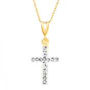 Luminesse Cross Pendant Necklace with Crystals in 14kt Gold