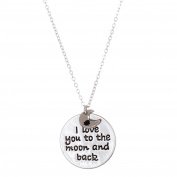 I Love You to the Moon and Back Circle Charm Necklace