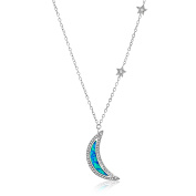 Lab Created Opal and Genuine Cubic Zirconia Crescent Necklace in Sterling Silver