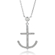 Brinley Co. Women's Sterling Silver CZ Anchor Necklace