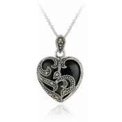 Marcasite and Onyx Sterling Silver Heart Pendant