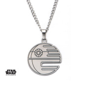 Star Wars Death Star Cutout Stainless Steel Pendant Necklace w/Gift Box by Superheroes Brand