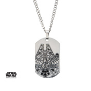 Star Wars Millennium Falcon Dog Tag Stainless Steel Pendant Necklace w/Gift Box by Superheroes Brand