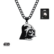 Star Wars Darth Vader Etched Stainless Steel Pendant Necklace w/Gift Box by Superheroes Brand